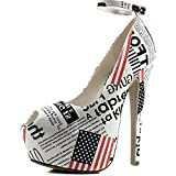 Women's Extreme High Fashion Ankle Strap Peep Toe Hidden Platform Sexy Stiletto High Heel Pump Shoes NudePatPu-65
