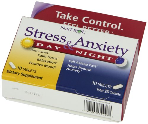 Natrol Stress and Anxiety, Day and Night Tablets, 20 Count