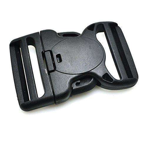 5pcs Plastic Dual Adjustable & Security Double Lock Buckle for Tactical Belts Black ()