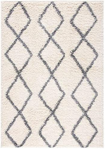 Safavieh Venus Shag Collection VNS682A Moroccan Geometric Area Rug, 9 x 12 , Ivory Grey