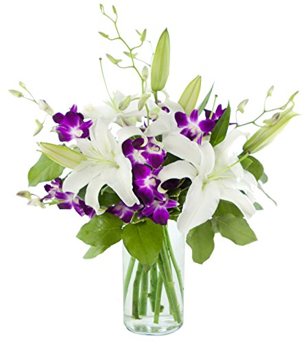 Mother's Day Special Elements of Style with Lilies and Orchids - With Vase