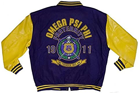 Omega Psi Phi Leather Varsity Trimmed Fraternity Mens Big & Tall Jacket - Slightly Defective (4X - Fur Trimmed Knit Jacket