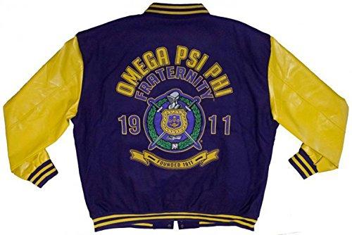 Omega Psi Phi Leather Varsity Trimmed Fraternity Mens Big & Tall Jacket - Slightly Defective (4X large)