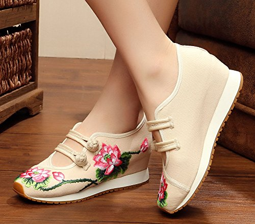 AvaCostume Womens Lotus Embroidery Casual Walking Sneakers Fashion Traveling Shoes Beige O5oHq