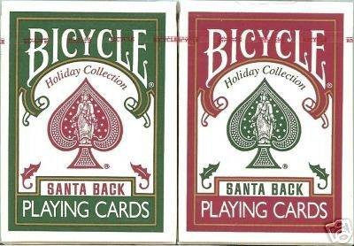 - Bicycle Santa Back Playing Cards Poker Size Regular Index Claus 808 Xmas Red Green Bike Christmas