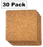 Cork Drink Coasters 1/8'' Thick Square 30 Pack - Home Bar and Kitchen Essential - Blank Reusable Absorbent Eco-friendly DIY Project Tile Craft Board - Restaurant Cafe Wedding Supplies and Accessories
