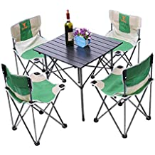 Portable Folding Camp Chair Set 5 In 1 Beach Camping 4 Chairs and Table Picnic Outdoor