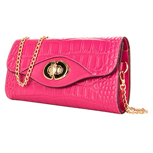 Genuine Clutch Pink Bag Crocodile Leather Crossbody VanGoddy Textured Rose Uwd6nW