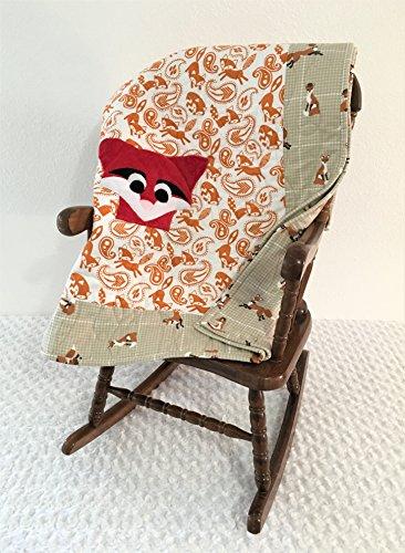Small Orange and Tan Fox Applique Quilt