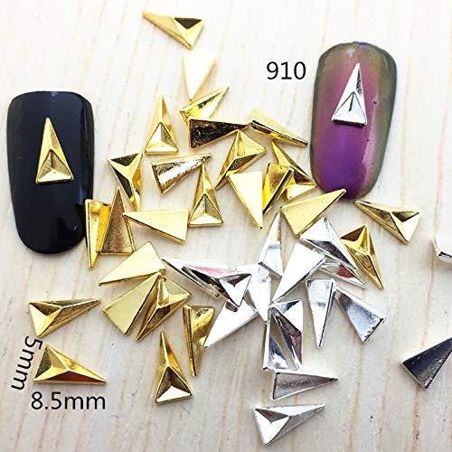 Kamas 10pcs Retail Japan Korea Nail Art Deco DIY Kawaii Fancy Triangle Punk Style Fashion Nail Styling tool for nail make up - (Color: Silver) (Art Deco Japan)