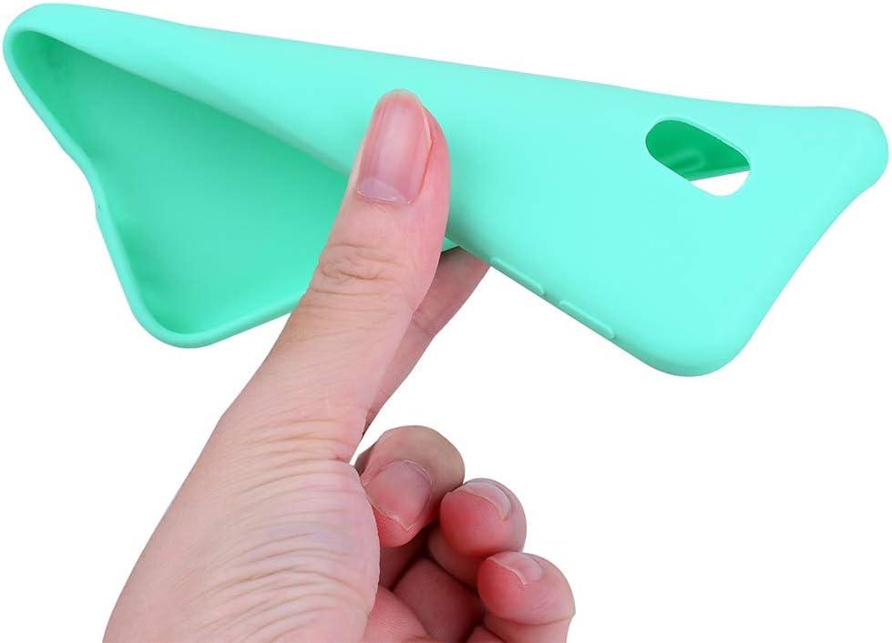 EuCase 2X Funda Samsung Galaxy J7 2017 Silicona Carcasa Galaxy J730 Antigolpes Suave TPU Flexible Goma Mate Ultra Delgada Goma Color Cubierta Protector Case para Caja Tapa Carcasa Rosa Verde