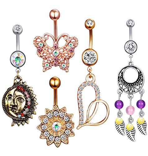 Gold Belly Heart Dangle (5pcs long 10mm belly button Piercing rings Barbell 14G Dangle navel ring Body Jewelry Kit Bar (mix style 5pcs))