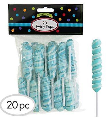 Robins Egg Blue Twisty Lollipops - 4 Packs of 20 Pops - 80 Total Pops