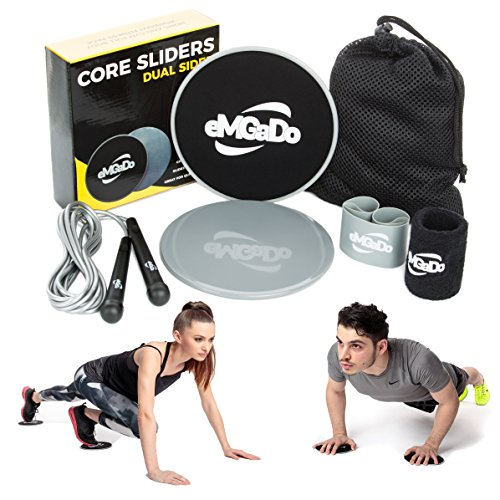 Cheap Core Exercise Sliders-Workout Equipment: 2 Dual Sided Gliding Discs + Light Resistance Band, Jump Rope, Wristband, Mesh Bag & eBook by eMGaDo