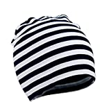 Zando Toddler Infant Baby Cotton Soft Cute Knit Kids Hat Beanies Cap D Black White Stripe