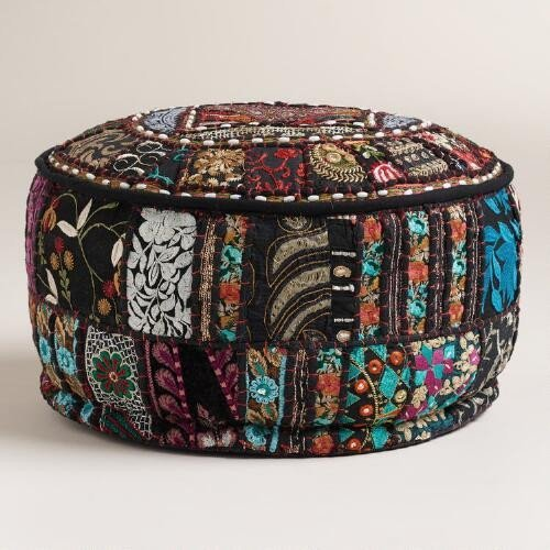 India Patchwork Art (Bohemian Patch Work Ottoman Cover,Traditional Vintage Indian Pouf Floor/Foot Stool, Christmas Decorative Chair Cover,100% Cotton Art Decor Cushion, 14x22'. Only Cover, Filler not Included black Color)