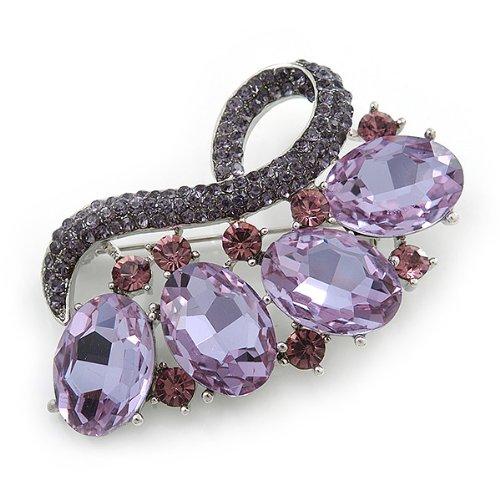 Broche cristal lavande, verre ovale améthyste contemporaine en plaqué rhodium