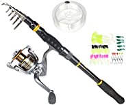 LEOSPORT Fishing Rod and Reel Combos Carbon Fiber Telescopic Fishing Rod with Reel Combo Sea Saltwater Freshwa