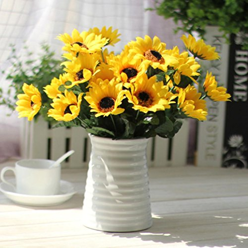 Anshinto 14 Heads of Artificial Sunflower Bouquet Floral Garden Home Decor Fake Silk Flowers