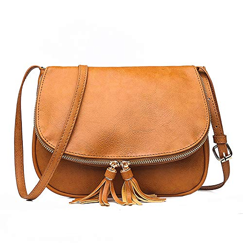 - ATUPEIY Flap Top Medium Crossbody Bags Handbags Shoulder Purse with Tassel Accents