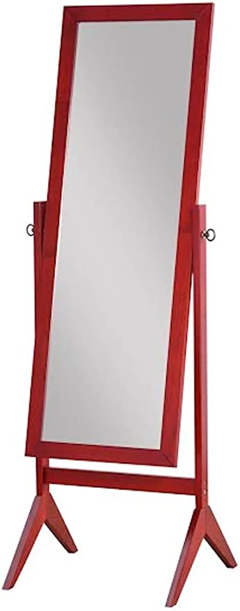 Legacy Decor Wood Rectangular Cheval Floor Mirror Free Standing Mirror
