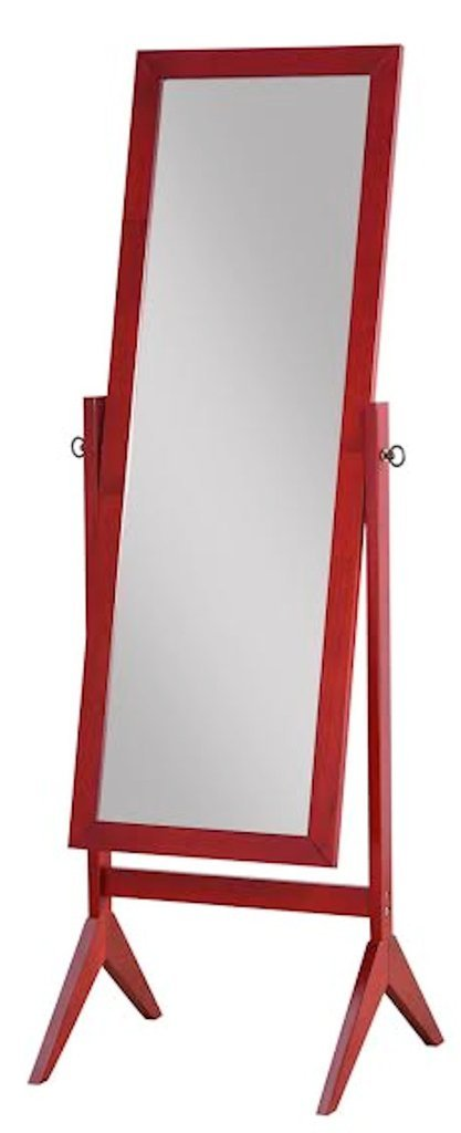 Legacy Decor Wooden Rectangle Cheval Floor Mirror, Free Standing Mirror, Cherry Finish