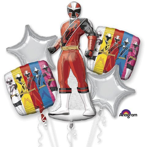 Power Rangers Ninja Steel Bouquet Of Balloons - Power Ranger Birthday Supplies