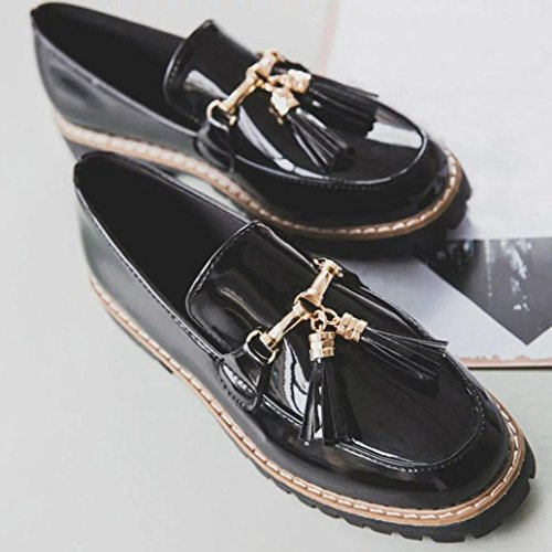 Elevin (tm) 2018womens Retro Preppy Stil Slip På Dusk Patent Lær Plattform Loafers Oxford Sko Svart
