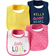 Carter's Baby Girls' 4-Pack Multi Dots Bibs One Size