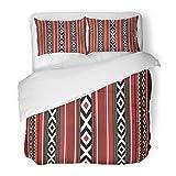 SanChic Duvet Cover Set Red Uae Detailed Traditional Sadu Qatar Bedouin Arabian Heritage Yemen Decorative Bedding Set with 2 Pillow Shams Full/Queen Size