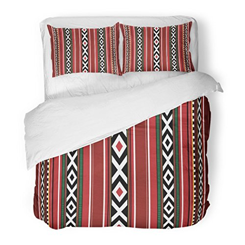 SanChic Duvet Cover Set Red Uae Detailed Traditional Sadu Qatar Bedouin Arabian Heritage Yemen Decorative Bedding Set with 2 Pillow Shams Full/Queen Size by SanChic