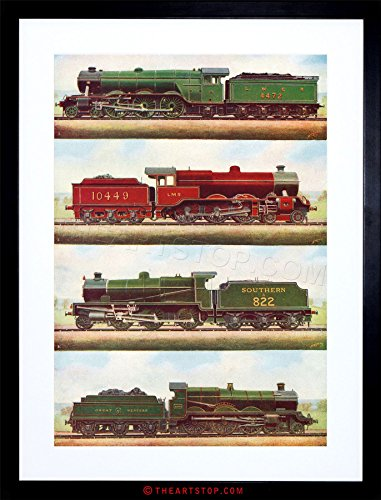 (The Art Stop Transport Vintage Painting Train Engine LOCOMOTIVES Steam Framed Print F97X3701 )