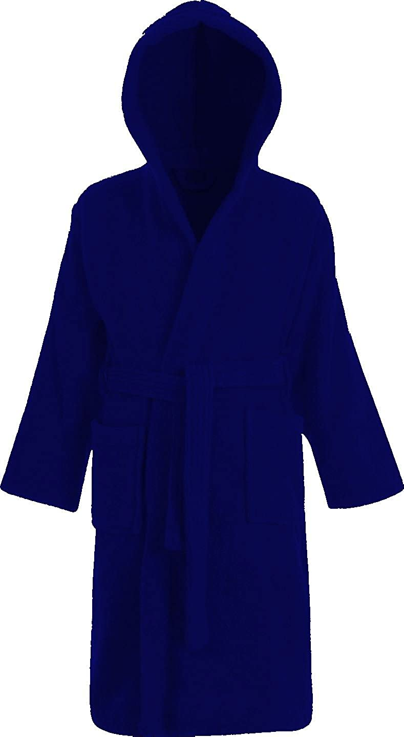 Kids 100% Cotton Bathrobe Hooded Blue Terry Towelling Shawl Collar Bath Robe Ages 2-13 Adore Home