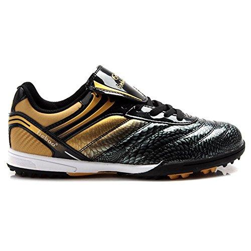 Tiebao Männer Hard Boden Indoor Speed Lackleder Fußballschuhe Schwarzes Gold