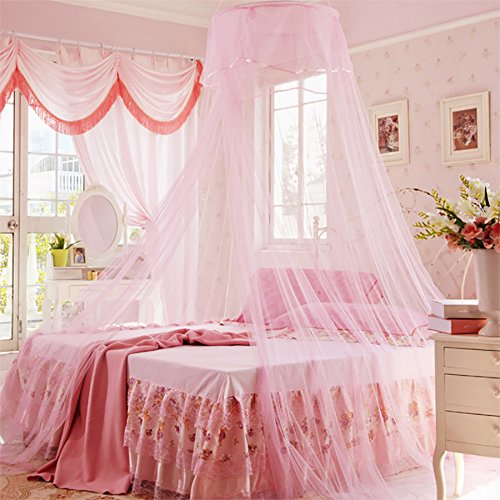Home Cal Bed Netting Pink Round Top 3 layer Mosquito Net Bed Canopy Insect Net Protection with Hanging Kit