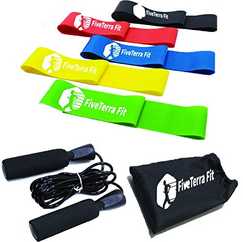 FiveTerra Fit Resistance Loop Exercise Bands with Skipping Rope, Instruction Guide,Carry Bag Set of 5, Workout Flex-Bands for Home Fitness, Stretching, E-Book Fitness The Guide to Stay Healthy ()