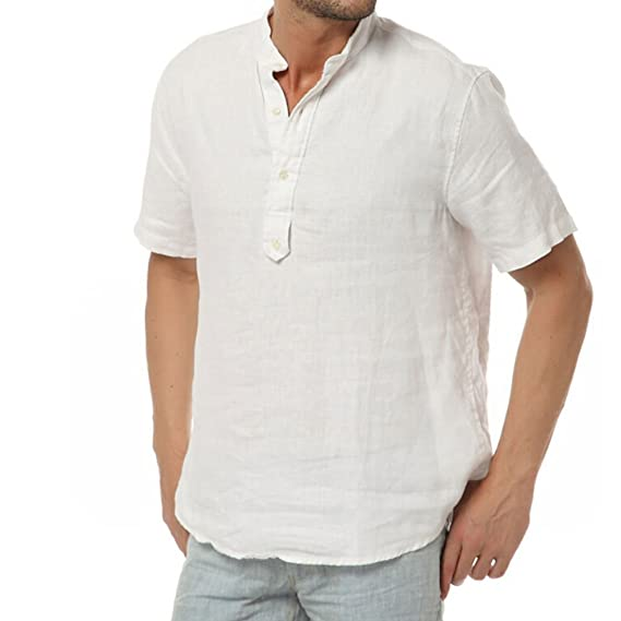 Najia Symbol Herren Beiläufig 100% Leinen Grandad Kragen Kurzarm Henley Hemd   Amazon.de  Bekleidung e3df53e209