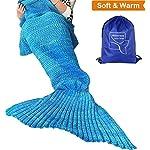 "Heartybay Crochet Mermaid Tail Blanket for Adult, Super Soft All Seasons Sleeping Mermaid Blanket (71""x35.5"") - Blue"