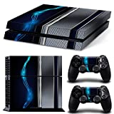ZoomHit Ps4 Playstation 4 Console Skin Decal Sticker Blue Silver Metal + 2 Controller Skins Set