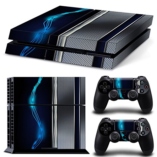 (ZoomHit Ps4 Playstation 4 Console Skin Decal Sticker Blue Silver Metal + 2 Controller Skins Set)