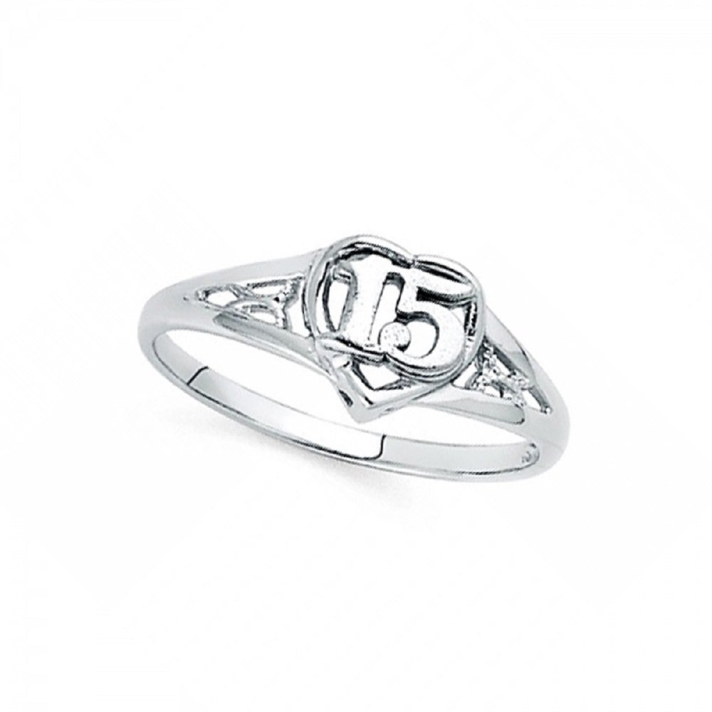 Heart Sweet 15 Ring Solid 14k White Gold Quinceanera Fancy Band Polished Fancy Style 8MM Size 8.5
