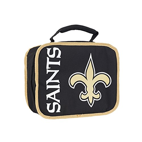 Officially Licensed NFL New Orleans Saints Sacked Lunch Cooler Bag, Gold, 10.5 x 8.5 x 4
