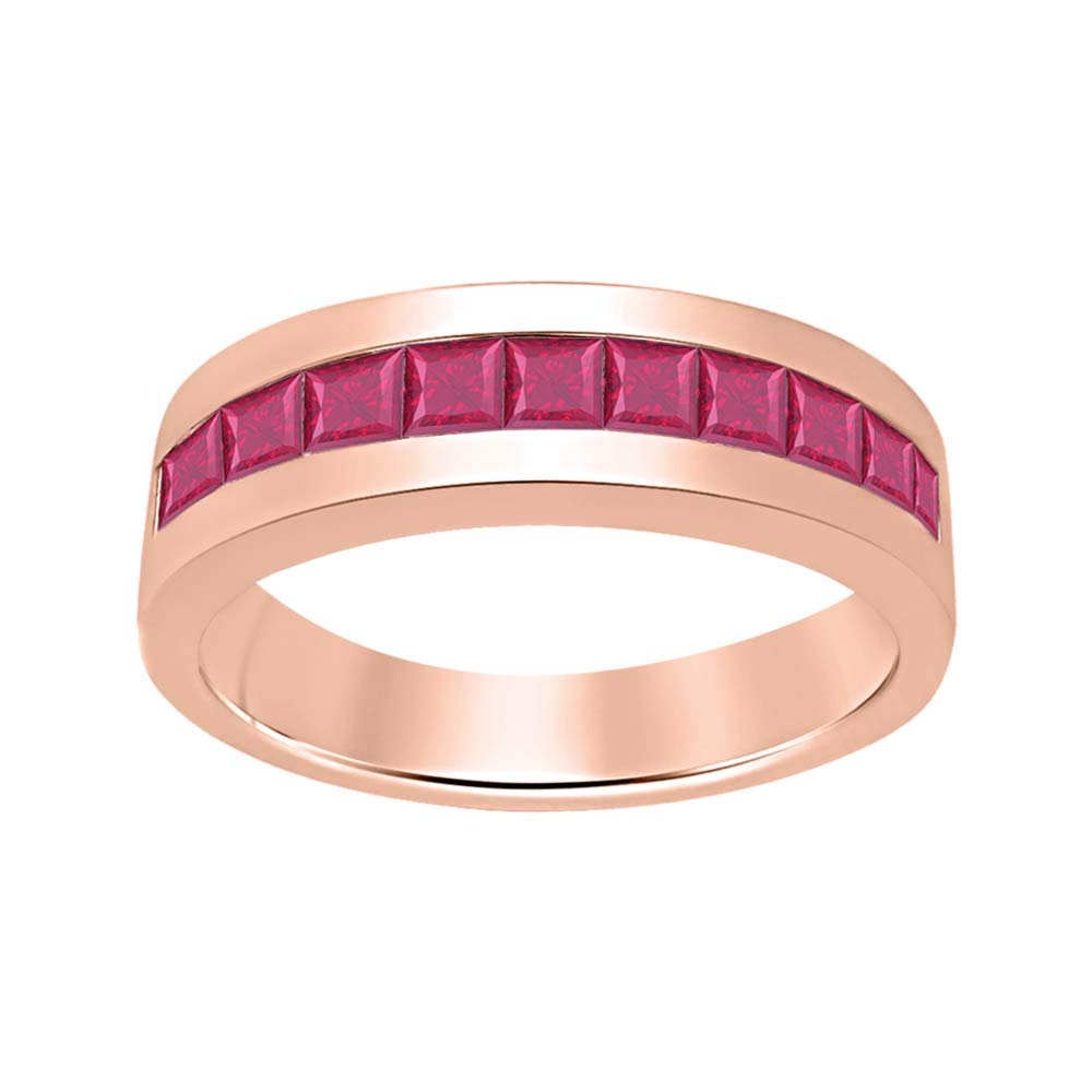 SVC-JEWELS 14K Rose Gold Over 925 Sterling Silver Created Gemstones Wedding Band Ring Mens