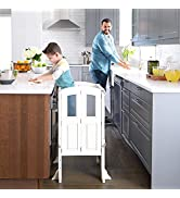 Martha Stewart Kitchen Helper Stool by Guidecraft with 2 Keepers - White: Foldable, Wooden, Adjus...