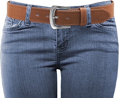 (LUNA Women's Thick Color Stitch Dress Belt - Tan Large)