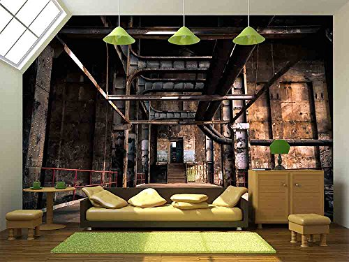 wall26 - Old abandoned industrial interior - Removable Wall Mural | Self-adhesive Large Wallpaper - 100x144 ()