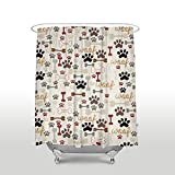 Oversized Shower Curtain Luxury Waterproof Fabric Shower Curtains with Hooks for Bathroom Bathtubs Decor, Mold/Mildew Resistant & Anti-Stain, 48x72 inch - Dog Paws and Bone Funny Design