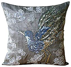 Sequins Beaded Bird Design Pillows Cover