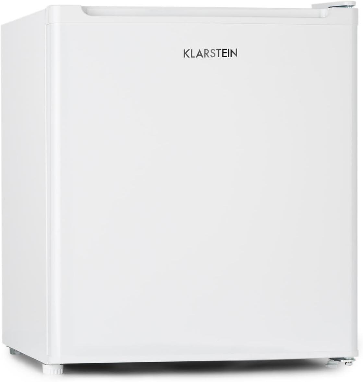 Klarstein Garfield Eco - Mini Congelador 4 estrellas, Nevera 34 Litros capacidad, 117 kWh/año, 2 Niveles, Silencioso 41 dB, Rejilla extraíble, Compacto, Clase energética A ++, Blanco