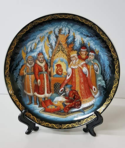 - Quality Import Q382-4, 8'' Porcelain Decorative Plate w/Tales of Pushkin Painting, Round Wall Decor Platter